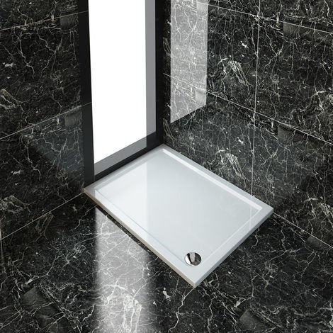 ELEGANT Rectangular 1200 x 900 x 40 mm Stone Tray for Shower Enclosure Cubicle + Waste Trap