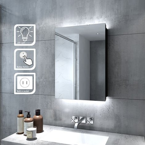 ELEGANT Illuminated Bathroom Mirror Cabinet with Lights and Shaver Socket Wall Mounted LED Bathroom Mirror with Shelf 500mm