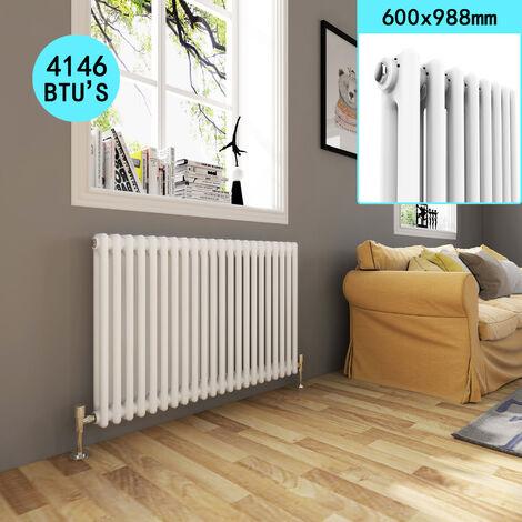 ELEGANT Horizontal Radiators Double Panel with Valves 600 x 988 mm for Bathroom \ Kitchen \ Living Room, White 2 Column Traditional Cast Iron Radiator with Valves