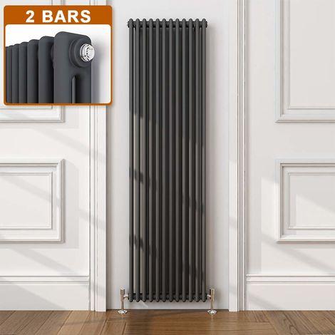 ELEGANT Traditional Radiator Anthracite Double Vertical Cast Iron Grey Radiator - Perfect for Kithcen, Living Room, Bathroom Radiators 2 Column 1800 x 560 mm