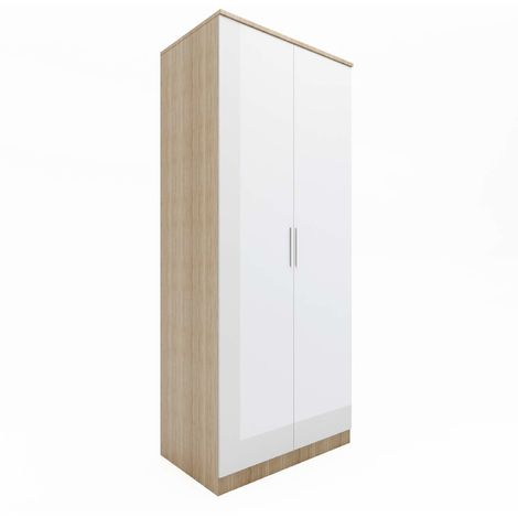 ELEGANT Modern High Gloss Soft Close 2 Doors Wardrobe with Metal Handles Includes a removable hanging rod and storage shelves, White/Oak