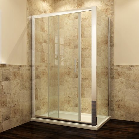 Sliding Shower Enclosure 6mm Glass Reversible Cubicle Door Screen Panel with Shower Tray and Waste + Side Panel 1000 x 800 mm