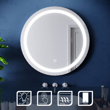 ELEGANT Wall Mounted Illuminated LED Bathroom Mirror with Lights 700 x 700mm Touch Sensor + Demister