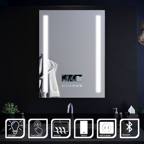 ELEGANT Wall Mounted Illuminated LED Bathroom Mirror with Lights 600x800mm Touch control Anti-Fog Clock Function Bluetooth Audio Shaver Socket