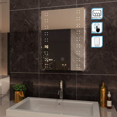 ELEGANT Modern LED Illuminated Bathroom Mirror 500 x 700mm Vertical Rectangle Touch Control Switch with Demister Pad