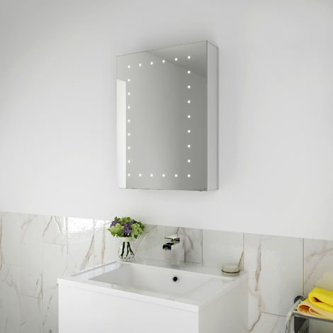 ELEGANT Bathroom Cabinet with Mirror and Lights Led Mirror Bathroom Storage Wall Mounted Bathroom Cabinets with Shelf 450 x 600 mm