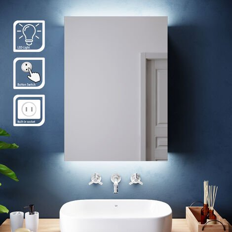 ELEGANT Illuminated LED Bathroom Mirror Cabinet Stainless Steel Wall Mounted with Lights, with Shaver Socket, Shelf 500mm