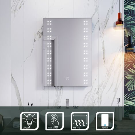 ELEGANT 500 x 700mm Modern Heated LED Illuminated Vertical Rectangle Bathroom Mirror Touch Control Switch with Demister Pad
