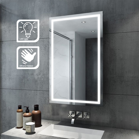 ELEGANT Illuminated LED Bathroom 430 x 690mm Mirror Cabinet Stainless Steel Frame Wall Storage Mirror with Lights with Sensor Switch