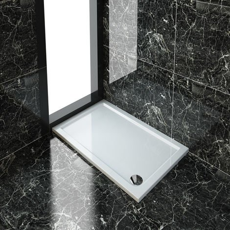 ELEGANT Stone Tray for Shower Enclosure Cubicle + Waste Trap Rectangular 1200 x 800 x 40 mm Tray