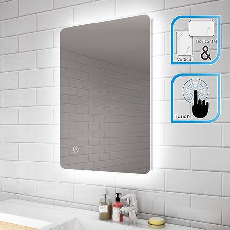 ELEGANT Modern Backlit Illuminated LED Bathroom Mirror Light with Touch Sensor Vertical Horizontal 700 x 500 mm