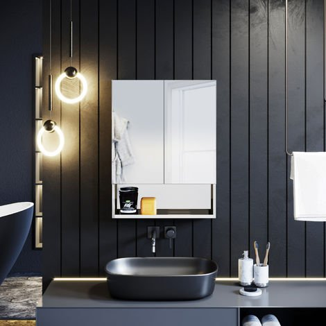 ELEGANT Double Mirror Wall Mounted Cabinet, 800 x 600 mm Stainless Steel Bathroom Wall Cabinets 2 Door with 3 Shelves Silver