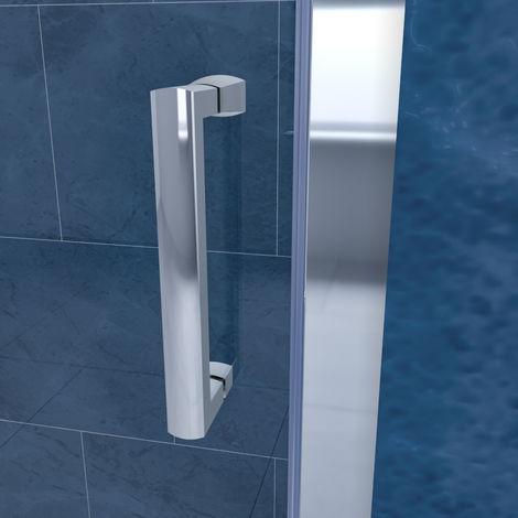 ELEGANT Sliding Corner Shower Enclosure 1100 x 760 mm Cubicle with Shower Tray and Waste 6mm Safety Glass Reversible Shower Door