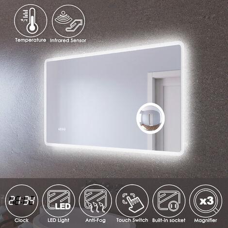 ELEGANT LED Illuminated Bathroom Mirror with Infrared Sensor 1000 x 600mm with 3 Times Magnifying Glass Shaving Socket Clock Display Anti-foggy Led Mirror