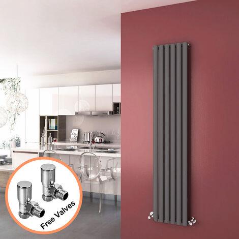 1800 x 360 mm Anthracite Vertical Oval Column Radiator Single Panel Designer Radiators + Angled Radiator Valves