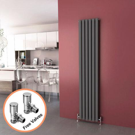 1800 x 360 mm Anthracite Modern Vertical Column Radiator Oval Double Panel Designer Heater + Angled Radiator Valves