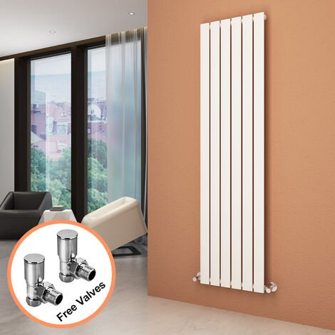 1800 x 452 mm White Vertical Column Radiator Single Flat Panel Designer Bathroom Radiator + Angled Radiator Valves