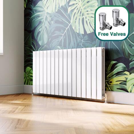 ELEGANT 600 x 1216 mm White Designer Radiators Horizontal Double Flat Panel Bathroom Radiator Heater + Angled Radiator Valves