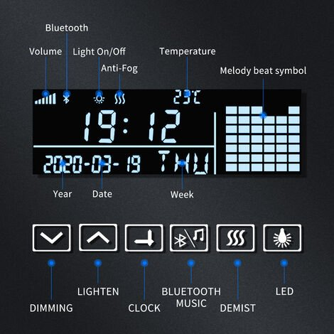 ELEGANT LED Illuminated Bathroom Mirror with Light 600x800 mm Sensor + Demister + Shaver Socket + Bluetooth Audio + Clock Function
