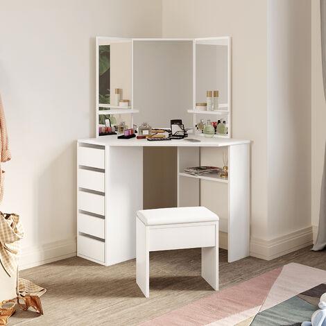 ELEGANT Furniture Dressing Table with Drawer Mirror Corner Makeup Dresser Set with Stool White 5 Drawers