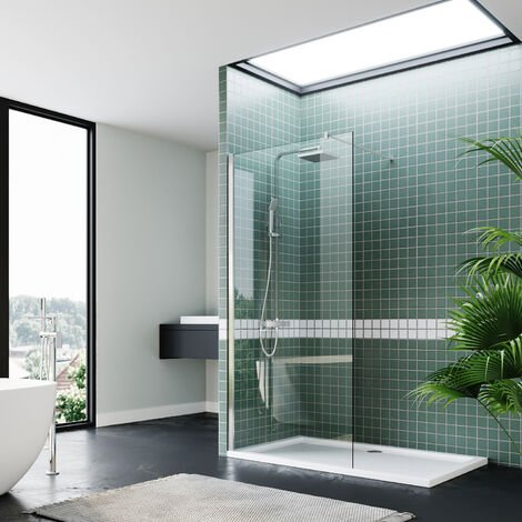 ELEGANT Frameless Wet Room Shower Screen Panel 8mm Easy Clean Glass Walk in Shower Enclosure 1200mm Clear Glass