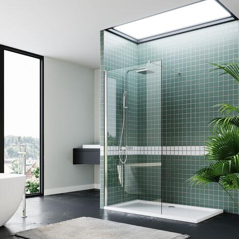ELEGANT Frameless Wet Room Shower Screen Panel 8mm Easy Clean Glass Walk in Shower Enclosure 700mm Clear Glass