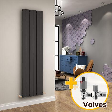 ELEGANT Vertical Column Radiator 1800 x 452 mm Anthracite Single Flat Panel Designer Bathroom Radiator + Chrome Thermostatic Radiator Valves
