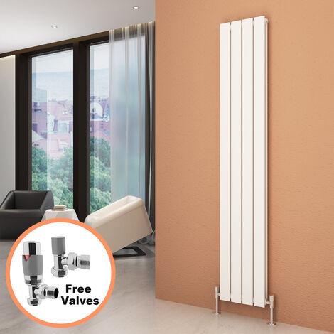 1800 x 300 mm White Vertical Column Radiator Double Flat Panel Designer Bathroom Radiator + Chrome Thermostatic Radiator Valves