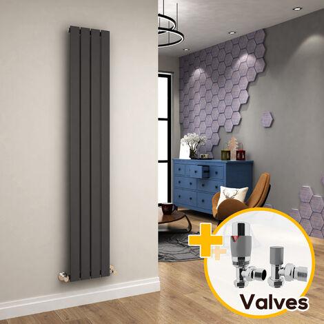 ELEGANT Radiators Vertical Anthracite Tall Single Bathroom Kitchen Designer Radiator Flat Panel 1800 x 300 + Chrome Thermostatic Radiator Valves