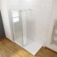 700mm Wet Room Shower Screen Panel 8mm Easy Clean Glass Walk In Shower Enclosure with 300mm Flipper Panel