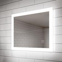 ELEGANT 600 x 500 mm LED Illuminated Bathroom Mirror Light Touch Sensor Horizontal Vertical