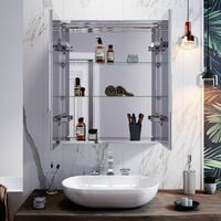 LED Mirror Cabinet 600 x 700mm with Lights Sensor Switch Stainless Steel Frame Modern Bathroom Wall Storage Mirror