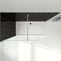 900mm Wet Room Shower Screen Panel 6mm Tempered Safety Glass Featured, Walk in Shower Enclosure with 1400x800mm Tray