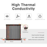ELEGANT Traditional Radiator Anthracite Triple Vertical Cast Iron Grey Tall Radiator - Perfect for Kithcen, Living Room, Bathroom Radiators 3 Column 1800 x 470 mm