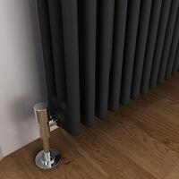 ELEGANT Traditional Radiator Anthracite Triple Horizontal Cast Iron Grey Radiator - Perfect for Kithcen, Living Room, Bathroom Radiators 3 Column 600 x 605 mm