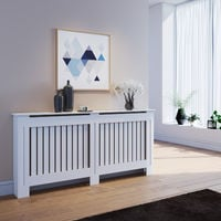 ELEGANT Radiator Covers Extra Large Modern Vertical Slat White Painted Cabinet Radiator Shelve for Living Room/Bedroom/Kitchen, EXTRA LARGE
