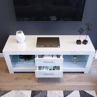 """ELEGANT 1300mm Modern High gloss TV Stand Cabinet with LED Light for 22""""-52"""" Flat Screen 4k TVs/Living Room Bedroom Furniture Television Unit TV Cabinet with Shelves and Drawers for Media Storage,White"""
