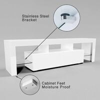 """ELEGANT 1600mm Modern High gloss TV Stand Cabinet with Ambient Light for 22""""-65"""" Flat Screen 4k TVs/ Media Storage LED Light TV Cabinet with Shelves and Drawers for Living Room Bedroom Furniture, White"""