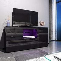 ELEGANT 1350mm Modern Black Gloss TV Unit Stand with LED Ambient Light for Living Room and Bedroom with Storage Furniture for 32 40 43 50 52 inch 4k TV