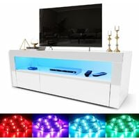 """ELEGANT 1200mm Modern High gloss TV Stand Cabinet with Ambient Light for 22""""-47"""" Flat Screen 4k TVs/ Spacious Storage LED Light TV Cabinet with Shelves and Drawers for Living Room Bedroom Furniture, White"""