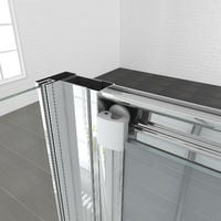 Bifold Shower Enclosure Glass Bathroom Screen Door Cubicle with Side Panel 700 x 800 mm