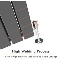 1800 x 452 mm Designer Vertical Column Radiator Anthracite Double Flat Panel