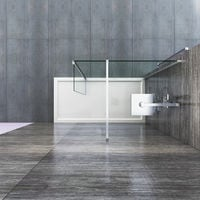 Wet Room Shower Screen Panel 8mm Easy Clean Glass 700mm Walk In Shower Enclosure with 300mm Flipper Panel