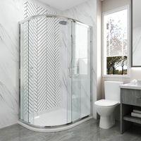 ELEGANT 900 x 800 mm Quadrant Shower Enclosure Sliding Door Easy Clean Glass