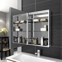 ELEGANT Illuminated LED Bathroom Mirror Cabinet Stainless Steel Frame Wall Storage Mirror with Lights 500 x 700mm