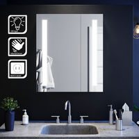 Illuminated Bathroom Mirror Cabinet with Light and Shaver Socket Wall Mounted LED Mirror with Shelf 600mm