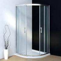 800 x 800 mm Quadrant Shower Cubicle Enclosure 6mm Glass Sliding Door with Stone Tray