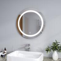 ELEGANT Bathroom Mirror Round Illuminated LED Mirror Touch Sensor + Demister 600 x 600mm