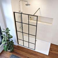 ELEGANT 900mm Walk in Shower Door Wet Room Reversible Shower Screen Panel 8mm Safety Glass with 1000mm Support Bar Matte Black Walkin Shower Screen with 1500x760mm Shower Tray