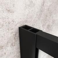 ELEGANT 900mm Walk in Shower Door Wet Room Reversible Shower Screen Panel 8mm Safety Glass with 1000mm Support Bar Matte Black Walkin Shower Screen with 1600x900mm Shower Tray